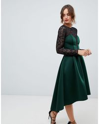ASOS Long Sleeve Lace Top Prom Midi Dress - Green