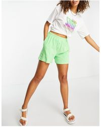 Collusion Towelling Button Front Shorts Co-ord - Green