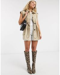 TOPSHOP Sleeveless Cropped Trench Coat - Natural