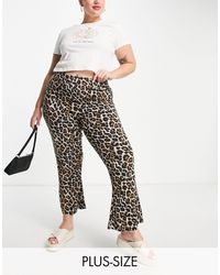 Noisy May Organic Cotton Blend Flared Trousers - Multicolour
