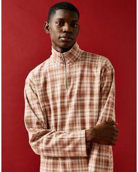 TOPMAN Check 1/4 Zip Shirt - Pink