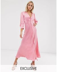 Ghost Exclusive Maddison Button Front Satin Midi Dress - Pink