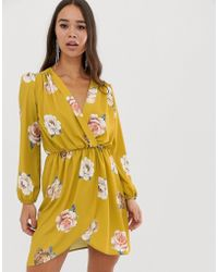 Love Wrap Over Floral Dress In Mustard - Yellow