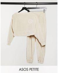 ASOS Asos Design Petite Lounge Velour Off Shoulder Sweat & jogger Set - Brown