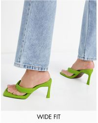 ASOS Wide Fit Haven Padded Toe Thong Heeled Sandals - Green