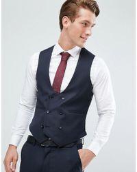 ASOS   Skinny Suit Vest In Navy 100% Wool   Lyst