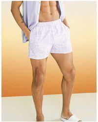ASOS Swim Shorts With Lilac Bandana Short Length - Purple