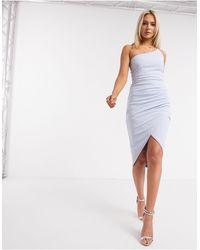 AX Paris Голубое Платье Миди На Одно Плечо -синий