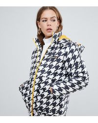 Ellesse - Padded Jacket With Contrast Lining In Houndstooth - Lyst