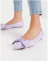 ASOS Сиреневые Балетки С Бантами - Пурпурный