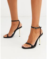 ASOS Nation Metal Heel Barely There Heeled Sandals In Black