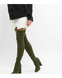 ASOS Koko Knitted Thigh High Boots - Green
