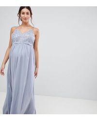 Chi Chi London - Zwangerschapskleding - Lange Cami-jurk Met Bandjes En Premium Kant - Lyst