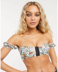 TOPSHOP Idol Ditsy Floral Bardot Bikini Top - Multicolor