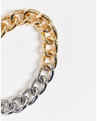 TOPSHOP Массивный Браслет-цепочка Из Комбинированных Металлов -золотистый - Металлик