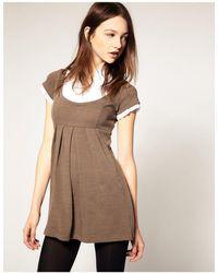 Wal-G Knitted Dress With Shirt - Natural