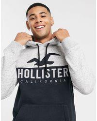 Hollister – er Kapuzenpullover mit Print und Logo auf der Brust - Mehrfarbig