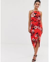 Oasis Midi Skirt With Side Split - Red