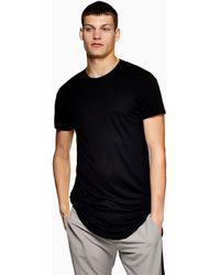 TOPMAN T-shirt taglio lungo nera con fondo arrotondato - Nero