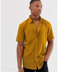 7bc66aa289e ASOS Regular Fit Revere Velour Shirt Mustard in Yellow for Men - Lyst