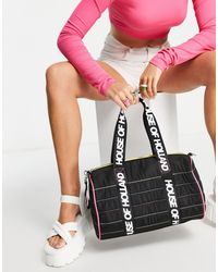 House of Holland Logo Barrell Bag With Rainbow Stitching - Black