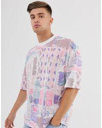 ASOS Oversize-T-Shirt mit abstraktem Vintage-Muster - Lila