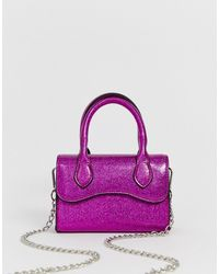 ASOS Micro Glitter Grab Bag With Curved Flap And Detachable Strap - Pink