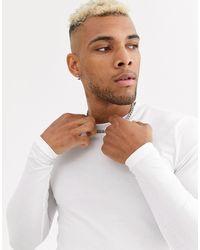 ASOS – Langärmliges Muskelshirt mit Rundhalsausschnitt - Weiß