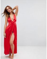 ASOS - Asos Pleat Side Satin Maxi Nightwear Slip - Lyst