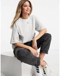 adidas Originals Светло-серая Oversized-футболка С Логотипом-трилистником Trefoil Essentials-серый