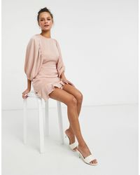 Lola May Satin Skater Dress With Volume Sleeves - Pink