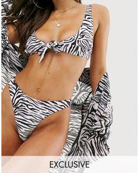 South Beach Mix En Match - Exclusief String-bikinibroekje Met Zebraprint - Meerkleurig