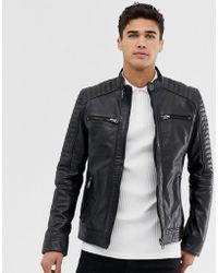 Barneys Originals Barney's Original Real Leather 4 Pocket Biker Jacket - Black