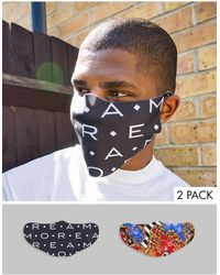 ASOS – 2er-Pack Gesichtsmasken mit Barock- und Sloganprint - Mehrfarbig