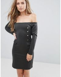 SuperTrash Dourney Double Breasted Detail Dress - Black