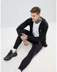 SIKSILK - Hoodie In Black With Gold Logo - Lyst
