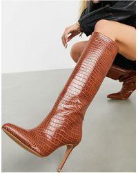 ASOS Claudia Knee High Boots - Brown