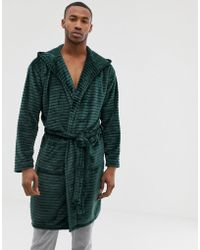 River Island Dressing Gown With Hood In Burn Out Green