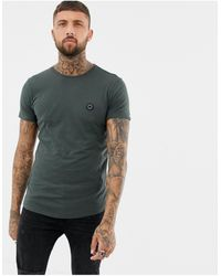 Religion Muscle Fit T-shirt With Curved Hem In Dark Grey
