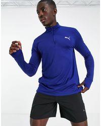 PUMA Синий Свитшот На Короткой Молнии Running Favorite-голубой