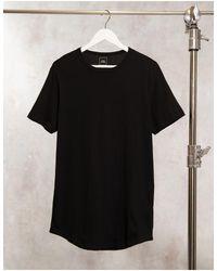 River Island - T-shirt lunga con fondo arrotondato nera - Lyst