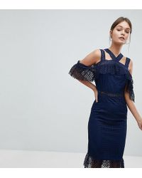 PrettyLittleThing - Lace Strappy Midi Dress - Lyst