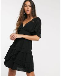 Stradivarius Smock Dress With Lace Detail - Black