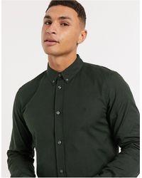 French Connection - Темно-зеленая Оксфордская Рубашка На Пуговицах С Логотипом -зеленый - Lyst