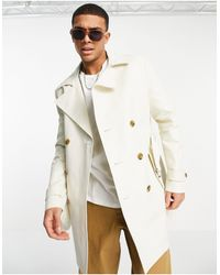 ASOS Shower Resistant Double Breasted Trench Coat - Natural