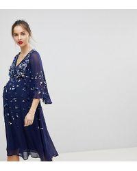 43a01259e39ce ASOS - Embellished Kimono Midi Dress - Lyst