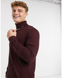 TOPMAN Knitted Roll Neck Jumper - Red