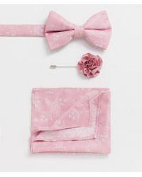 ASOS Wedding – Schmale Krawatte & Einstecktuch & Krawattennadel - Pink