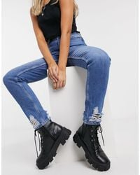 TOPSHOP Double Knee Rip Mom Jeans - Blue