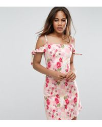 Oh My Love Tall Cold Shoulder Floral Shift Dress With Arm Tie - Pink